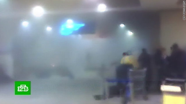 Russian television footage shows a smoke-filled area near the blast site at Domodedovo International Airport on January 24.