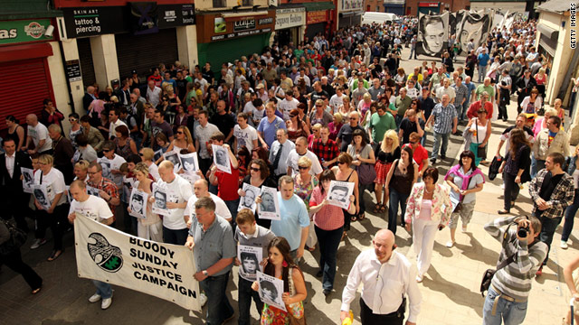 Members of the Bloody Sunday Justice Campaign march in Londonderry, Northern Ireland in 2010.