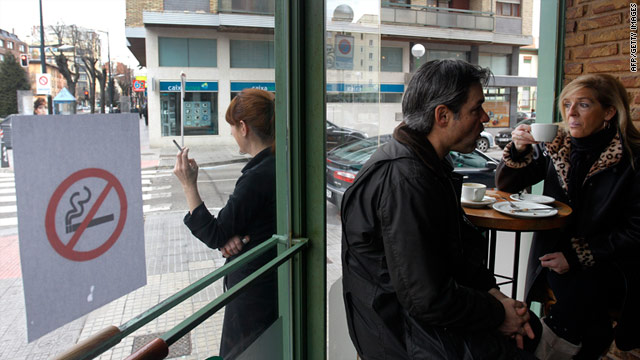Spain banned smoking in all bars, restaurants and public places on January 2, 2011.