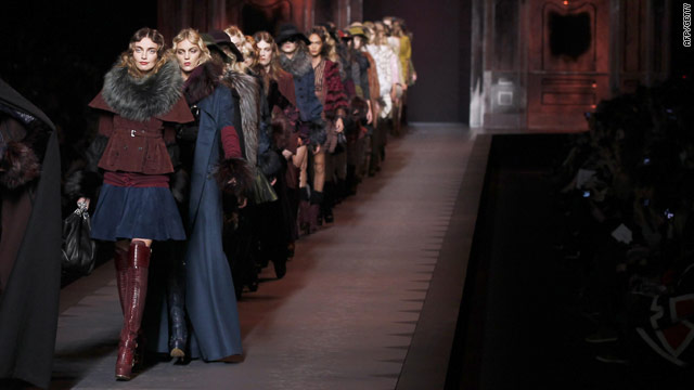 Models present creations by John Galliano for Christian Dior on March 4, 2011 in Paris -- but the designer himself was absent.