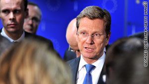 German Foreign Minister Guido Westerwelle has refused to comment on whether NATO should take a leading role in enforcing U.N. resolution 1973.