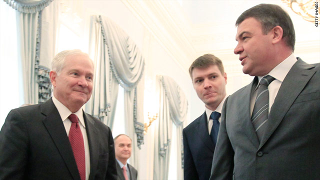 Robert Gates (L) meets with Defense Minister Anatoly Serdyukov (R) at the Ministry of Defense in St. Petersburg on Tuesday.