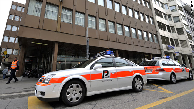 Two people were injured when a parcel bomb exploded at the offices of Swissnuclear on Thursday.