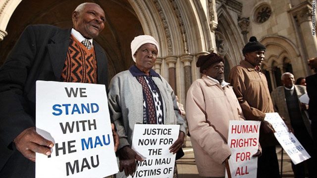Kenyans Wambugu Wa Nyingi, left, Jane Muthoni, Paulo Nzili and Ndiku Mutua stand outside the High Court in London.