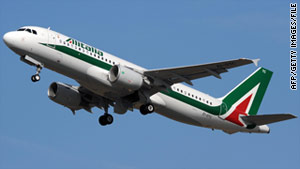 A passenger attacked a flight attendant aboard an Alitalia plane (shown here in a file photo) on Sunday.