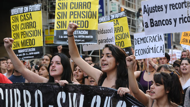 Young people with placards reading 'Without a house, without a job, without pension' during protests in April.