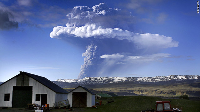 A cloud of smoke and ash is seen over the Grimsvotn volcano in Iceland on Saturday, May 21.
