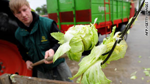 A farmer in central Germany throws out lettuce after suspicion was raised about E. coli contamination.