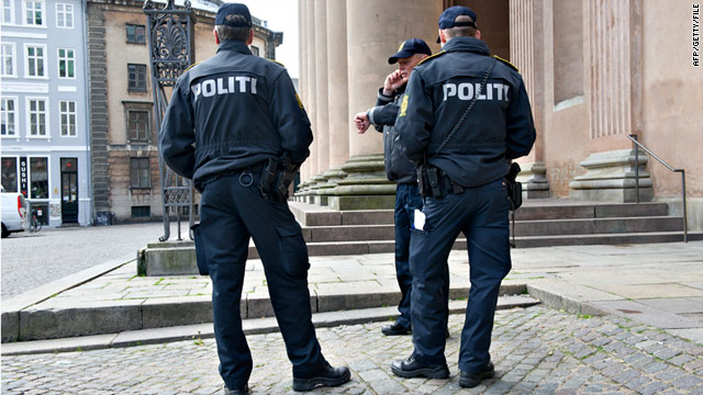 Danish police in front of Copenhagen city court on May 16, where the trial began against Lors Doukaev from Chechnya.