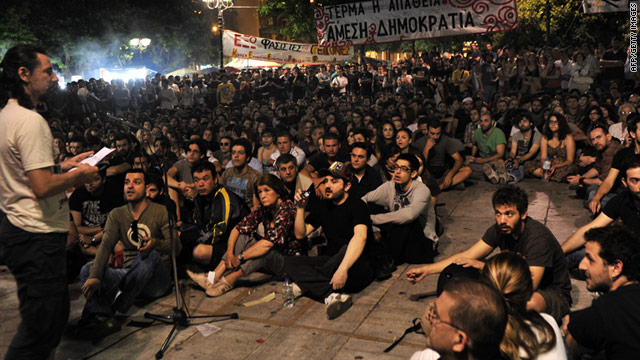 "A ""people's general assembly"" in Athens during protests against the austerity measures on June 1, 2011."