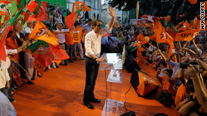 Leader of the centre-right Social Democratic Party (PSD) Pedro Passos Coelho greets supporters on June 3 in Lisbon.