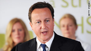 "UK Prime Minister David Cameron says time is ""running out"" for Libyan leader Moammar Gadhafi."