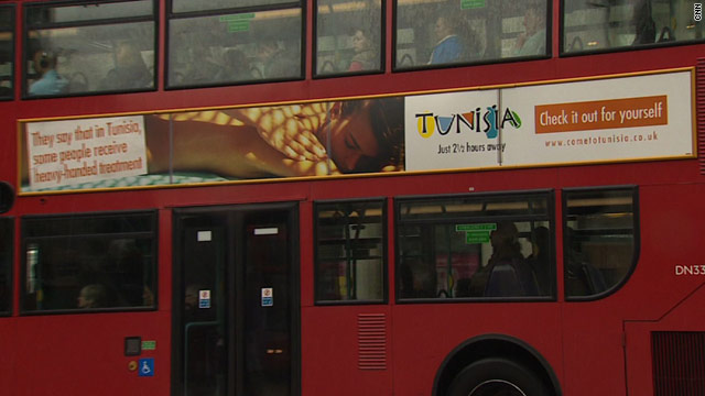 A bus in London carrying one of the controversial Tunisian adverts -- its makers said they wanted to create a debate.