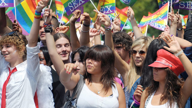 People celebrate during a gay pride march this month in Strasbourg, France.