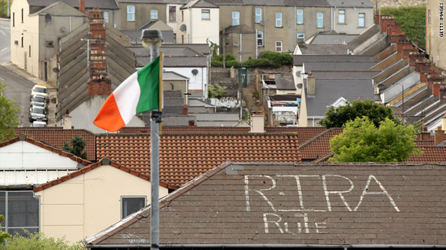 'RIRA' (Real Irish Republican Army) graffiti near the site of the 1972 Bloody Sunday killings in Northern Ireland on June 14.
