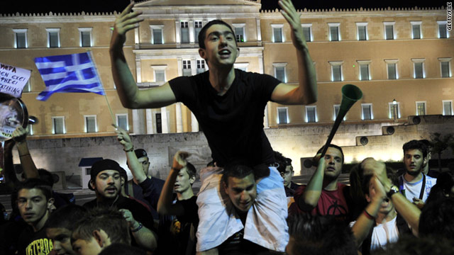 "Thousands of Greek ""Indignants"" have been protesting outside parliament in Athens for more than 30 days."
