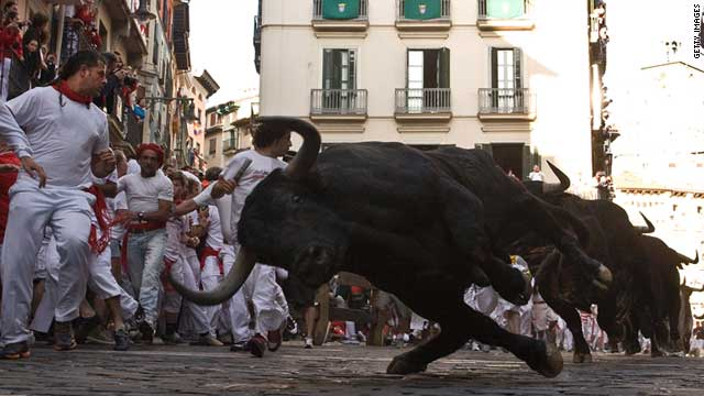The annual running of the bulls in Pamplona, Spain, started 400 years ago.