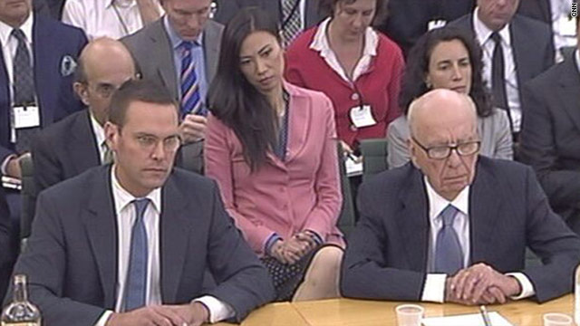 News Corp. founder Rupert Murdoch and son James, Chief Executive of News International at the select committee hearing.
