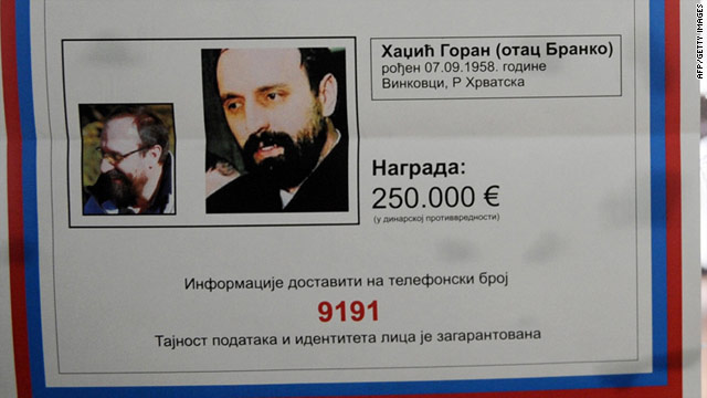 Goran Hadzic pictured in a wanted poster.