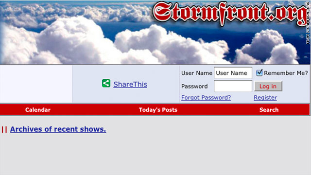 "This a screen grab from the website stormfront.org, whose motto is ""White Pride Worldwide."""