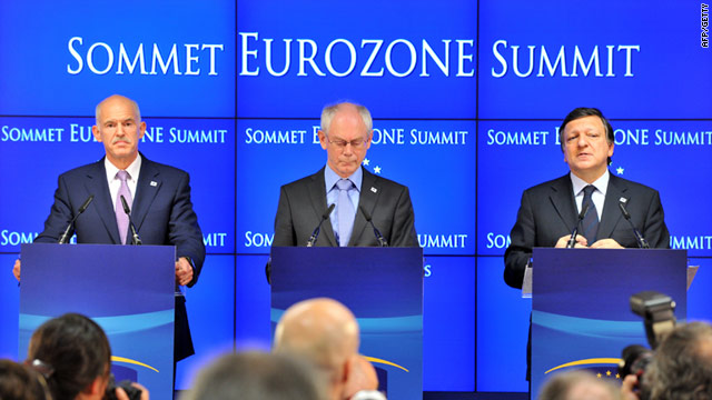 Greek PM George A. Papandreou, after July 21 EU summit with European Council President and European Commission President.