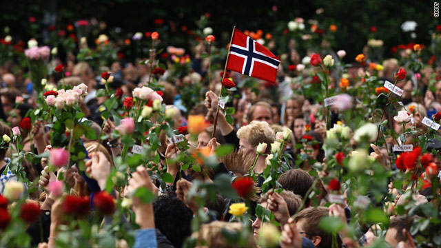 Almost 200,000 people participate in a memorial Monday in downtown Oslo to honor the victims, authorities say.