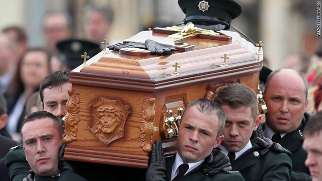 Officers carry the coffin containing the remains of Police Constable Ronan Kerr in Beragh, Northern Ireland, on April 6, 2011.