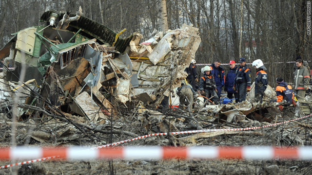 Russian rescuers inspect the wreckage of the aircraft which crashed on April 10 killing Polish President Lech Kaczynski