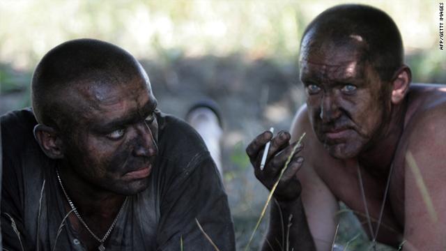 Rescuers at the Sukhodolskaya-Vostochnaya coal mine in eastern Ukraine on July 29.