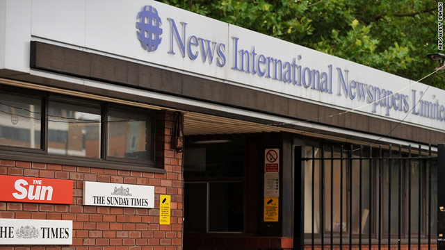 A gap where the News of the World's logo used to be outside News International's headquarters in east London.