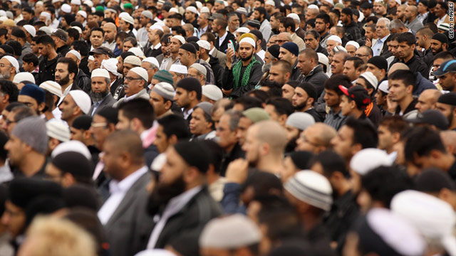 An estimated 20,000 people attended the prayer service for Haroon Jahan, Shazad Ali and Abdul Musavir.