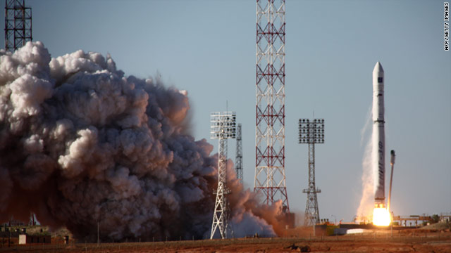 A rocket blasts off from the Russian leased Baikonur Cosmodrome in Kazakhstan on July 18.