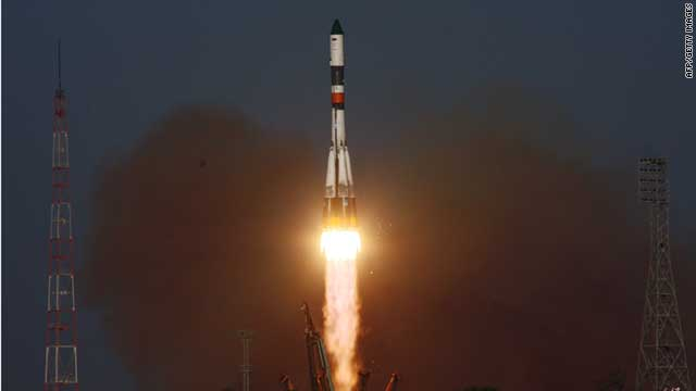 A Russian Progress M-12M cargo ship blasts off from the launch pad at the Baikonour cosmodrome on August 24, 2011.