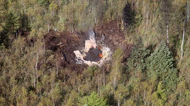A picture released by the Lithuanian Air Force shows the site of the wreckage after the jets' collision on Tuesday.