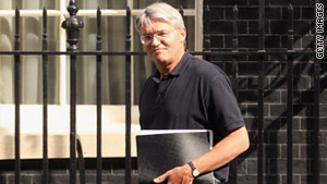 International Development Secretary Andrew Mitchell as seen leaving 10 Downing Street on August 22.