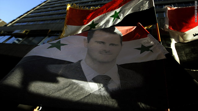 A demonstration in support of Syrian president Bashar al-Assad in Damascus on August 23.