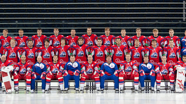 A picture of the Lokomotiv Yaroslavl ice hockey team taken on August 21.