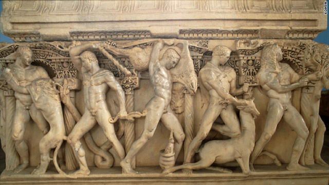 A detail of the Sidamara Sarcophagus, on display at the Istanbul Archaeology Museum. Turkey is asking for the return of a sculpture of a head that was detached from the tomb.