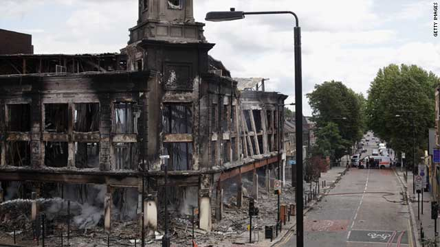 A burned building in the riot-hit London neighborhood of Tottenham on August 7, 2011.