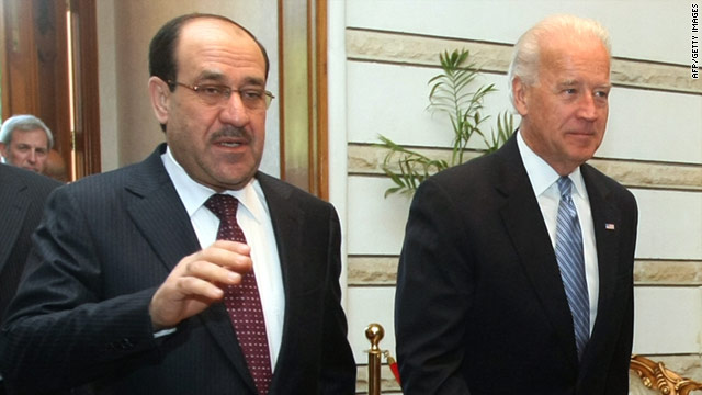 U.S. Vice President Joe Biden met with Iraqi Prime Minister Nuri al-Maliki during a surprise trip to Baghdad Thursday.