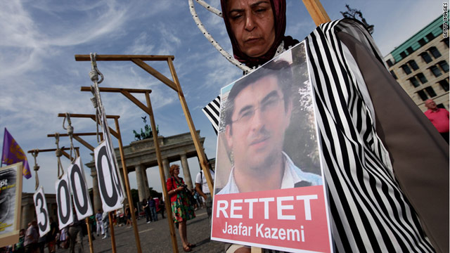 Iranian exiles in Berlin protest in August against anti-government activist Jafar Kazemi's impending execution.