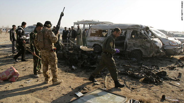 Monday's car bombing follows twin suicide attacks, pictured here on Thursday, January 20, that killed over 30 in Karbala.