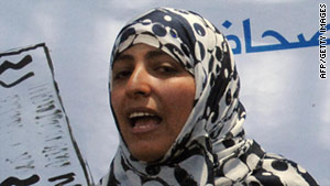 Human rights activist and Yemeni journalist Tawakkol Karman delivers a speech during a rally in 2009.