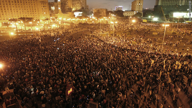 Demonstrators protest in central Cairo, Egypt, on Tuesday, calling for reforms and the ouster of President Hosni Mubarak.