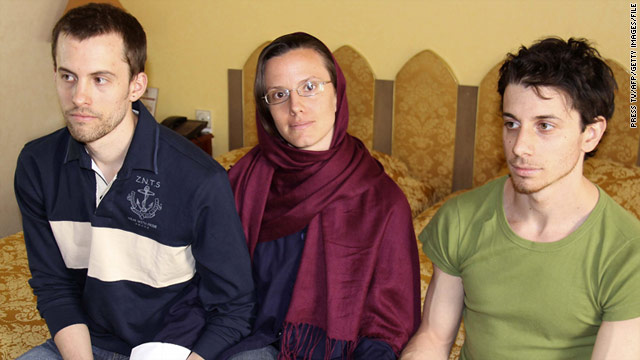 U.S. hikers Shane Bauer, left, Sarah Shourd and Josh Fattal will be tried in Iran on Sunday for spying and trespassing. Shourd was released on bail in September and will be tried in absentia.