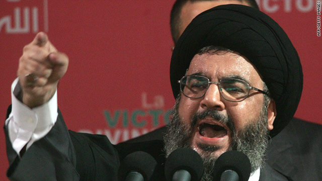 Hezbollah leader Hassan Nasrallah speaks at a rally September 22, 2006 in Beirut, Lebanon.