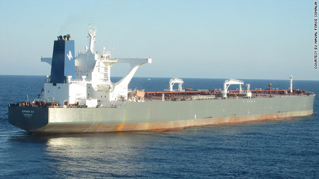 The Greek-flagged MV Irene SL (pictured) is the second major oil tanker in two days to be hijacked by pirates.