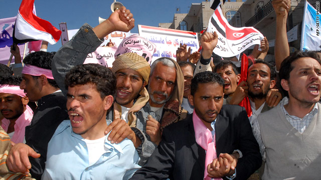 People protest at anti-government demonstrations on February 3. The event sparked a student protest at Sanaa University on Thursday.
