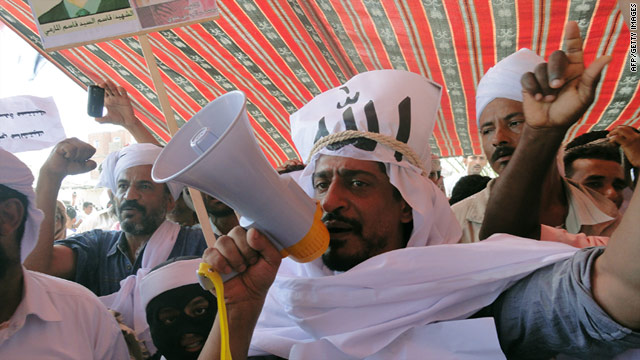 Tareq Fadhli, a former jihadist leader, shouts slogans during a protest in the southern Yemeni city of Abyan on February 11.