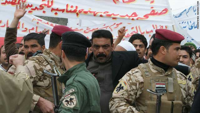 Protestors took to the streets of Falluja on February 15 rallying against corruption and demanding better basic services.